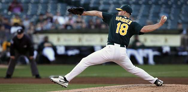 Oakland Athletics' Rich Harden started for the A's against the Arizona Diamondback's Friday July 1, 2011. This was Harden's first start of the season after missing the first half with a muscle strain under his right arm. The A's expect Harden to go about 90 pitches after throwing 72 pitches in his last rehab outing. Photo: Lance Iversen, The Chronicle