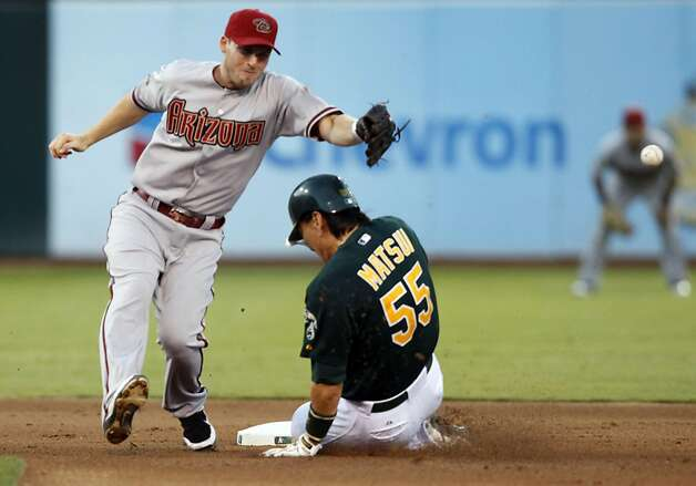 Oakland Athletics Hideki Matsui steals second base in front of Arizona Diamondbacks Stephen Drew in the 4th inning Friday July 1, 2011. Matsui would later score to tie the game at one all. Photo: Lance Iversen, The Chronicle
