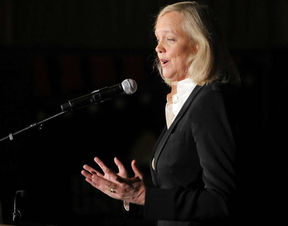 Gubernatorial candidate Meg Whitman addresses the press after she and her opponent, Jerry Brown, faced off in a debate at Dominican University in San Rafael, Calif., on Tuesday, October 12, 2010. Photo: Carlos Avila Gonzalez, The Chronicle