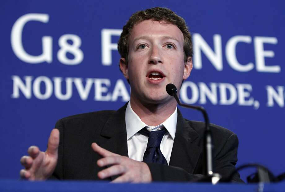 Facebook founder Mark Zuckerberg speaks during a press conference that took place at the G8 summit in Deauville, France, Friday, May 27, 2011. G8 leaders, in a two-day meeting, will discuss the Internet, aid for North African states and ways in which to end the conflict in Libya. Photo: Alexander Zemlianichenko, AP