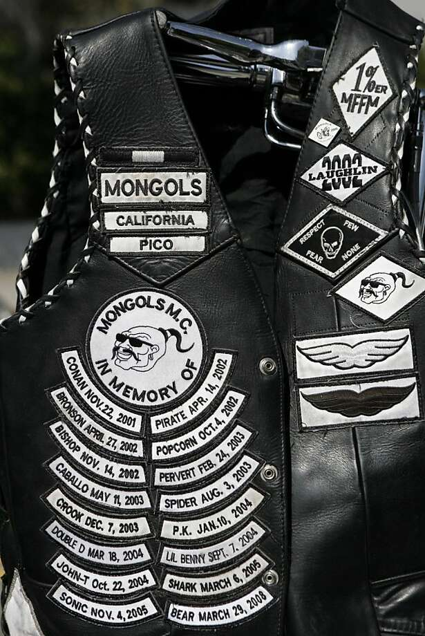 FILE - In this Oct. 21,2008 file photo a Mongols' motorcycle gang member vest is displayed during a news conference in Los Angeles.  Federal prosecutors on Monday, June 20, 2011 sought a final order barring members of the notorious Mongols motorcycle gangfrom wearing or distributing its trademarked logo and using its name. Photo: Ric Francis, AP