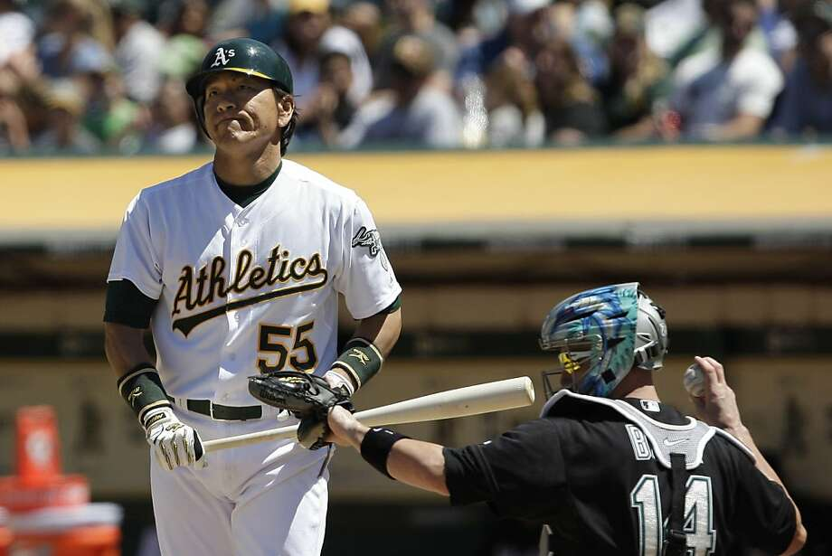 Hideki Matsui reacts after a pitch in the eighth  inning during the Oakland Athletcis vs. Florida Marlins game on Thursday, June 30, 2011 in Oakland, Calif. Final score: Marlins: 5 - Oakland: 4. Photo: Lea Suzuki, The Chronicle