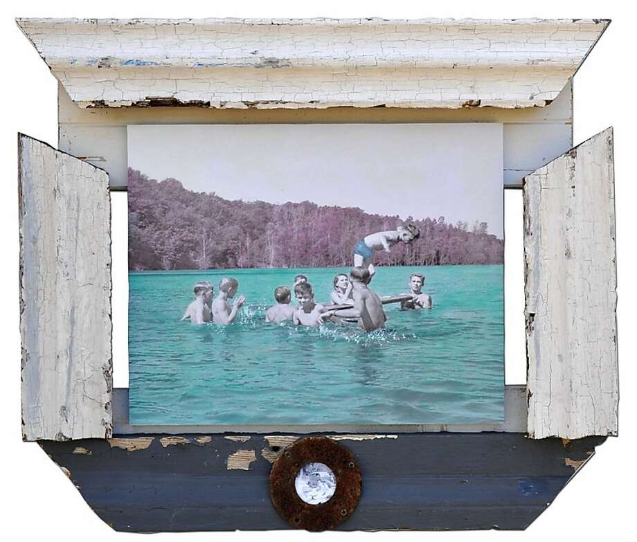 Leslie Morgan revisits our summertime fascination with water in painted vintage photos framed with reclaimed materials. Photo: James Allen Curtis, Gallery 1044