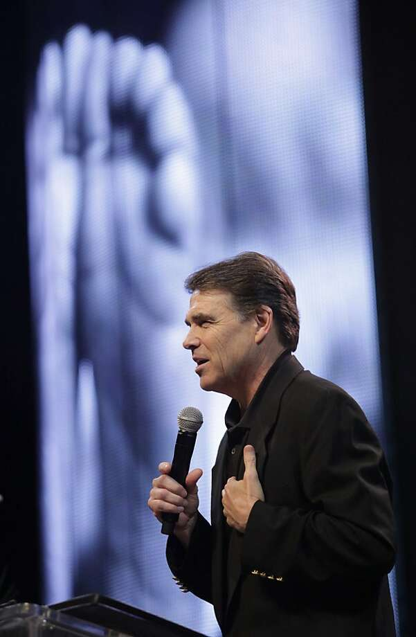 Texas Gov. Rick Perry speaks during a United For Life event event organized by a Hispanic anti-abortion group at the Los Angeles Memorial Sports Arena in Los Angeles on Sunday June 12, 2011. Photo: Richard Vogel, AP