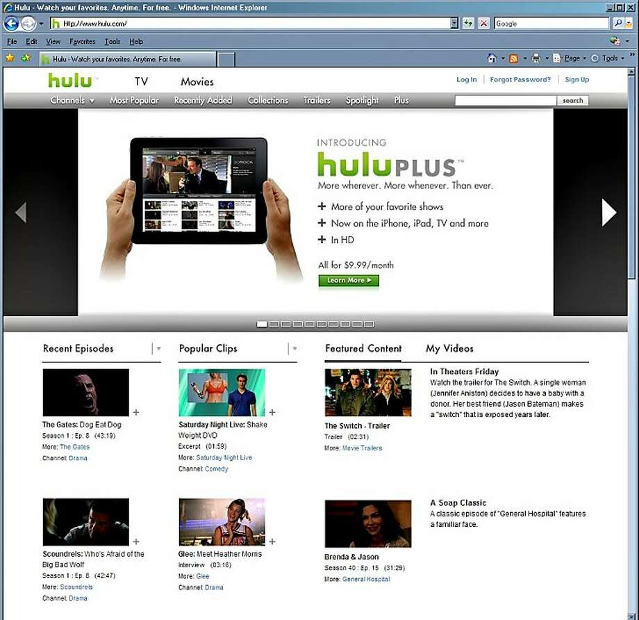 Hulu LLC's website at www.hulu.com is shown in this screen grab taken on Monday, Aug. 16, 2010. Hulu LLC, the video website owned by three of the biggest U.S. broadcast networks, is preparing an initial public offering that may value the company at more than $2 billion, according to a person with knowledge of the plan. Source: Hulu via Bloomberg EDITOR'S NOTE: NO SALES. EDITORIAL USE ONLY. Photo: Via Bloomberg
