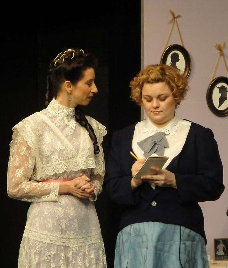 "Spinster sisters, Florence (Jocelyn Stringer, right) and  Viola (Kim Saunders) prepare to meet a mail-order  eligible bachelor, not knowing they're about to receive two in Off Broadway West's production of John Orlock's ""Indulgences in the Louisville Harem"" Photo: Barbara Michelson-Harder"