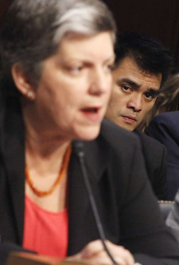 Pulitzer Prize winning journalist and immigration reform activist Jose Antonio Vargas, who recently revealed that he is an undocumented immigrant, right, listens to testimony by Homeland Security Secretary Janet Napolitano, on Capitol Hill in Washington,Tuesday, June 28, 2011, during the Senate subcommittee on Immigration, Refugees, and Border Security hearing on the DREAM Act. Photo: Charles Dharapak, AP