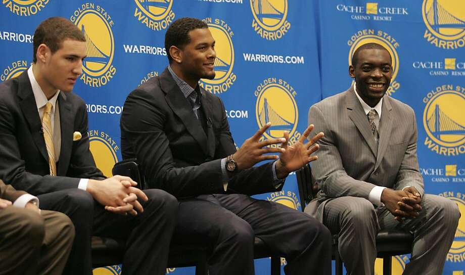 Golden State Warriors 2011 draft picks Klay Thompson, left, Jeremy Tyler, center, and Charles Jenkins field questions from the media during a news conference on Monday, June 27, in Oakland Calif. Photo: Mathew Sumner, Special To The Chronicle