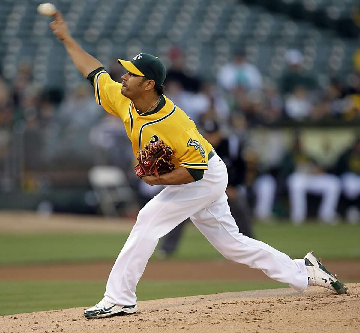 Oakland Athletics' Guillermo Moscoso pitches to the Florida Marlins during the first inning of a baseball game Wednesday, June 29, 2011, in Oakland, Calif.