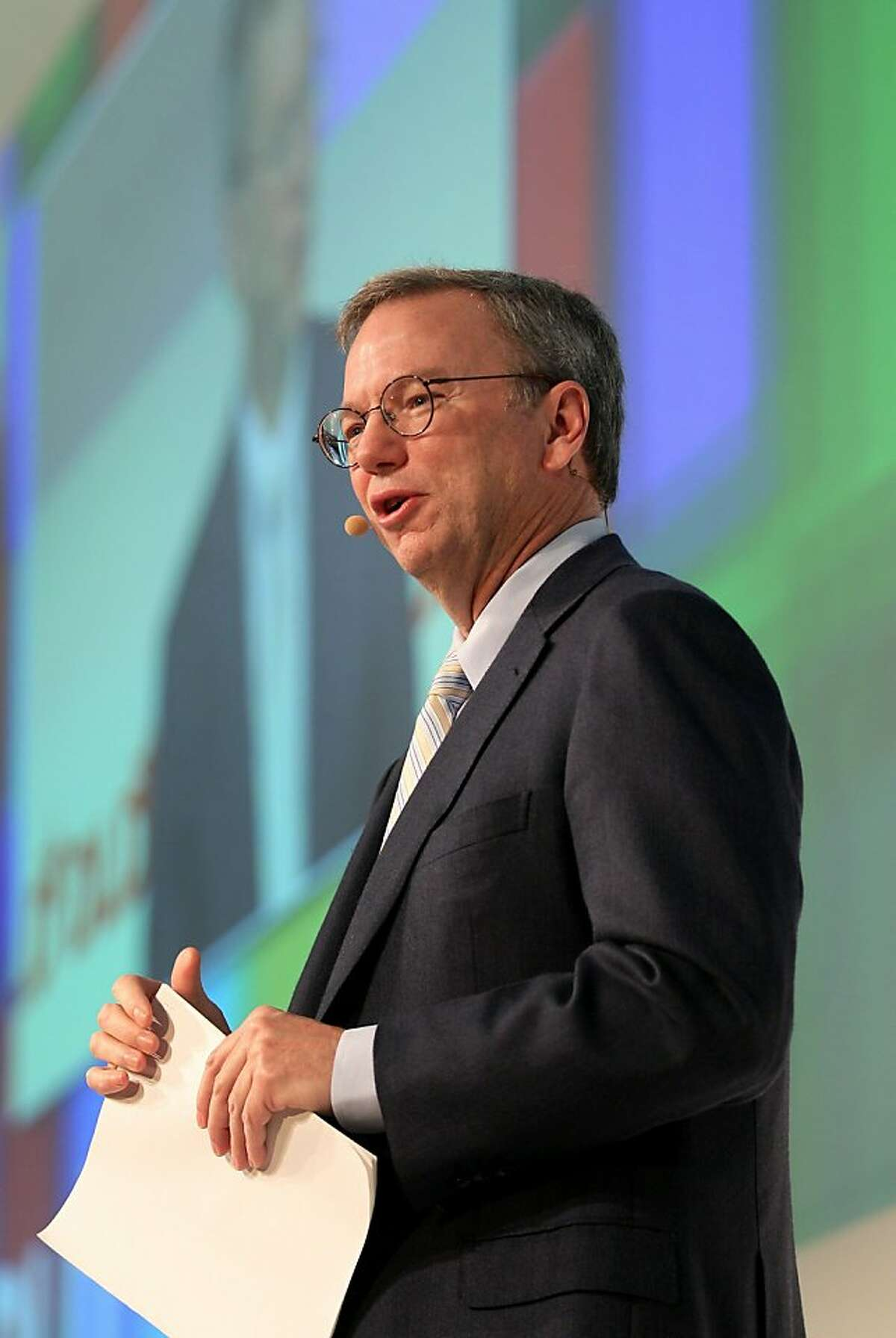 MUNICH, GERMANY - JANUARY 25: Google Chairman and CEO Eric Schmidt delivers the closing keynote speech at the Digital Life Design (DLD) conference at HVB Forum on January 25, 2011 in Munich, Germany. DLD brings together global leaders and creators from the digital world.