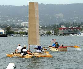 The rowboat beat the wingsail catamaran in the Summer Sailstice wooden boat building contest June 18 in Alameda. Both were built in eight hours.
