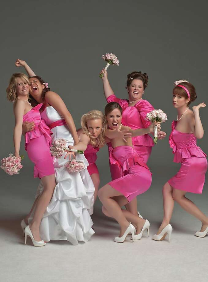 """(Left to right) Kristen Wiig, Maya Rudolph, Wendi Mclendon-Covey, Rose Byrne, Melissa McCarthy and Ellie Kemper star in the new comedy, """"Bridesmaids, from Universal Pictures. (Universal Pictures/MCT) Photo: Universal Pictues"""