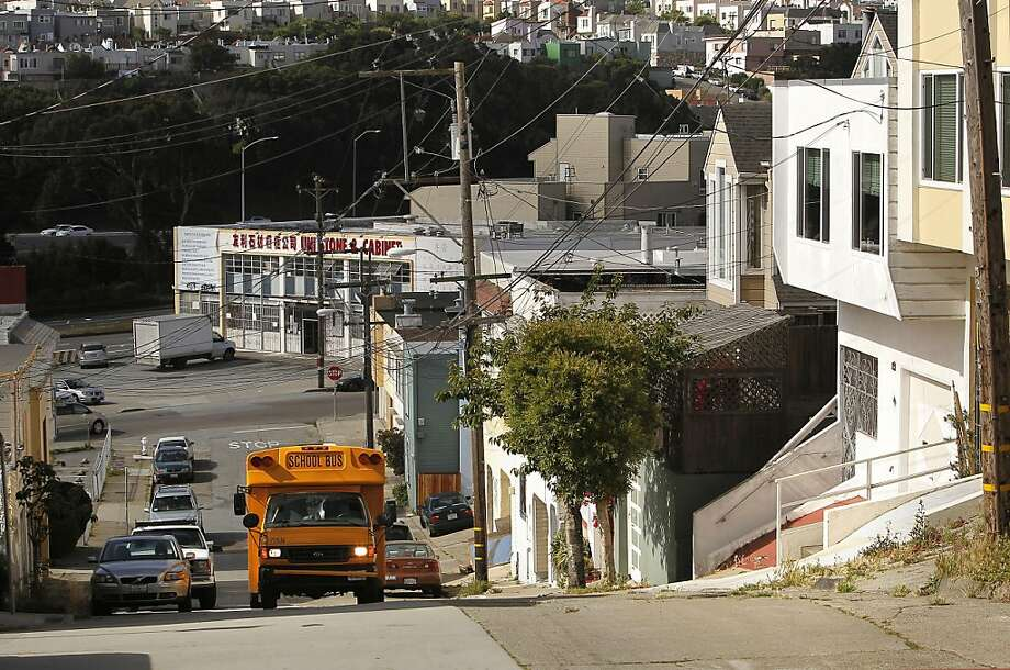 Looking down the hill to the corner of Crescent and Nevada Streets, in San Francisco, Ca. on Thursday June 23, 2011, the site of a PG & E gas line explosion and fire back in 1963. Photo: Michael Macor, The Chronicle