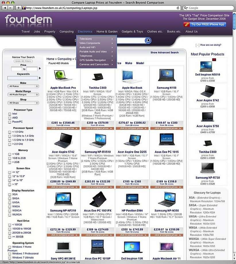 A screenshot of Foundem.com, taken on June 24th, 2011. Photo: Foundem.com