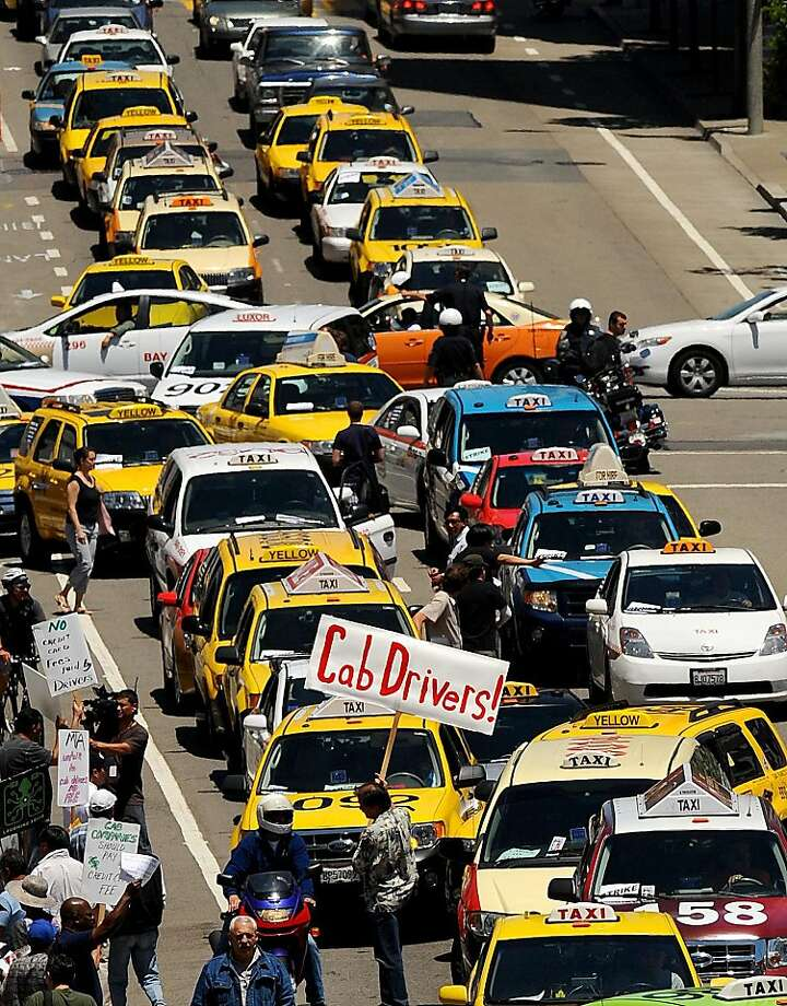 Protesting cab drivers block traffic in front of  City Hall on Tuesday, June 21, 2011, in San Francisco. Photo: Noah Berger, Special To The Chronicle