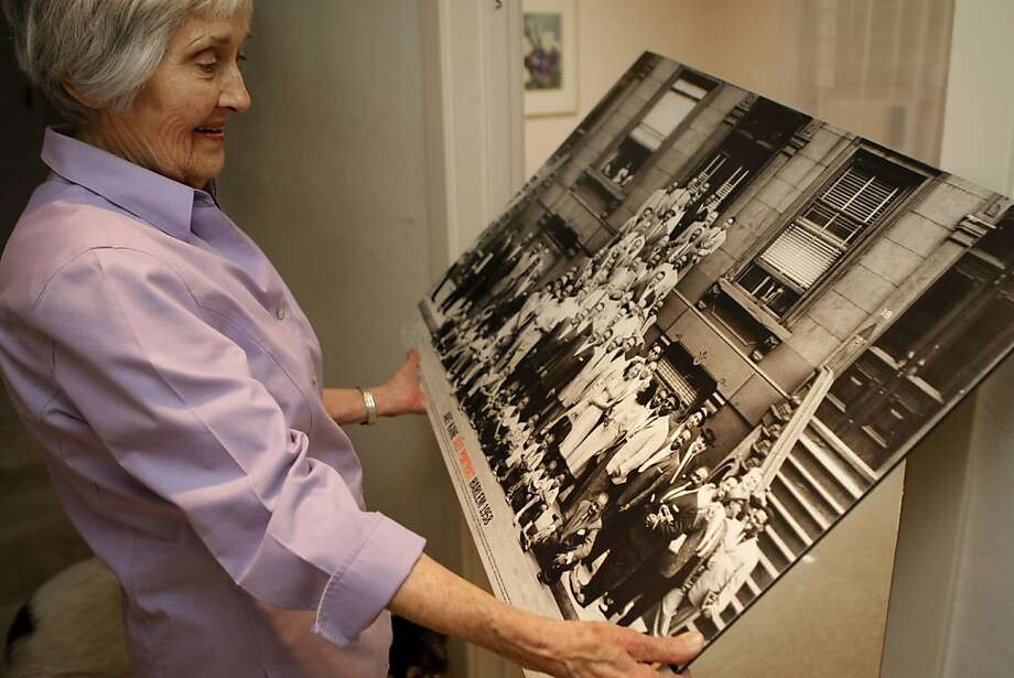 Evelyn Deane of San Anselmo, Calif., looking at her favorite photograph from Harlem 1958 of some of the greatest jazz players of all time. Jazz musician Gerry Mulligan was her favorite.  Photographed on June 16, 2011. Photo: Audrey Whitmeyer-Weathers, The Chronicle