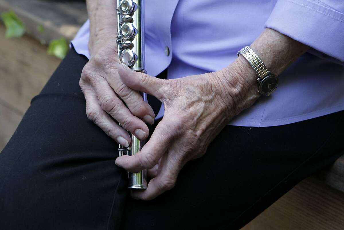 Evelyn Deane of San Anselmo, Calif., played tenor saxophone with an all girls jazz band led by Ina Ray Hutton, that helped to pave the way for women in jazz. Deane sold her sax, but the flute was the last instrument she played. Photographed on June 16, 2011.
