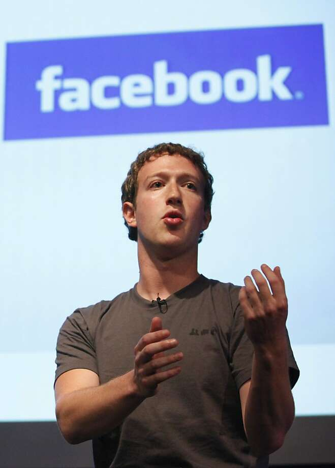 Facebook founder Mark Zuckerberg speaks in the Galileo Auditorium on Microsoft's Silicon Valley Campus in Mountain View, Wednesday, Oct. 13, 2010. Photo: Jeff Chiu, AP