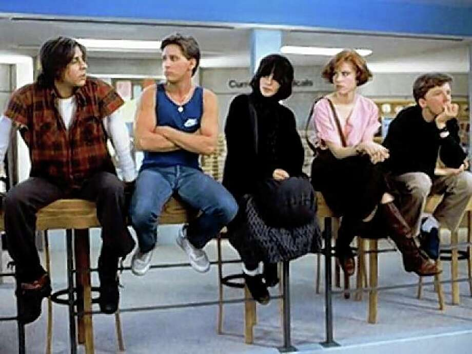 "Still from ""The Breakfast Club,"" from left Judd Nelson, Emilio Estevez, Ally Sheedy, Molly Ringwald, Anthony Michael Hall Photo: Universal Studios"