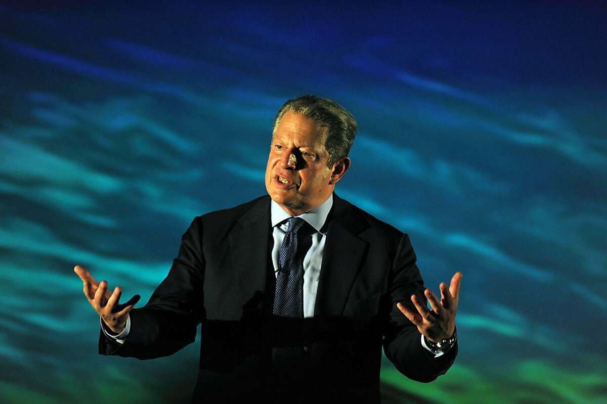 """(FILES) This March 16, 2011 file photo shows Former US vice president and Nobel Peace Prize winner Al Gore as he delivers a lecture during the """"First Business Forum on Sustainability and Environment"""" in Heredia at the outskirts of San Jose, Costa Rica. Al Gore has accused President Barack Obama of failing to lead on climate change, warning that the very survival of civilization was at stake. In an impassioned essay in Rolling Stone magazine, Gore sympathized with the challenges facing his fellow Democratand lambasted big business, political donors, the media and Congress for their role on climate change. Gore credited the administration with moving the United States """"slightly"""" forward on the issue but said Obama """"has thus far failed to use the bully p"""