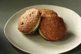 Carrot cookies with matcha creme. Food styled by Rochelle Vurek.
