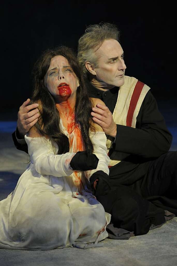 titus andronicus awash in fake blood sfgate lavinia anna bullard is comforted by her uncle marcus dan hiatt after