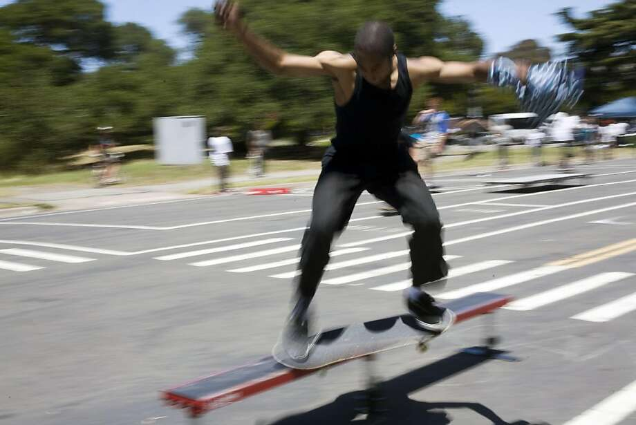 A temporary skateboard park opened on Tuesday, June 21 on the closed-off stretch of Waller Street. While neighbors have been fighting a skateboard park in that area for years, skateboarding advocates and city officials say the park is badly needed and will be a wholesome activity. Photo: Maddie McGarvey, The Chronicle