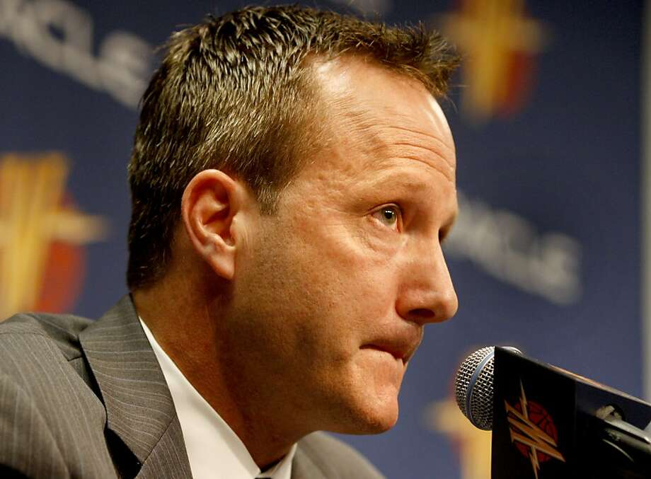 Robert Rowell listened to a question about the Warriors losing season. Warriors president Robert Rowell introduced new General Manager Larry Riley at a press conference Tuesday May 12, 2009 at Oracle Arena. Photo: Brant Ward, The Chronicle