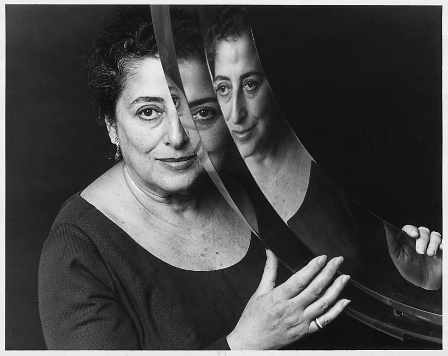 Frida Koblick and one of her works of transparent cast acrylic.  Photo was taken in 1982. Photo: Chronicle Archive