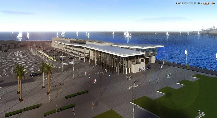 The cruise terminal planned for Pier 27, as shown in this rendering, would replace an existing 1960s-era shed with an 88,000-square-foot terminal as well as a public plaza and an area for dropping off passengers and supplies. Photo: KMD/Pfau Joint Venture, KMD/PLA Joint Venture