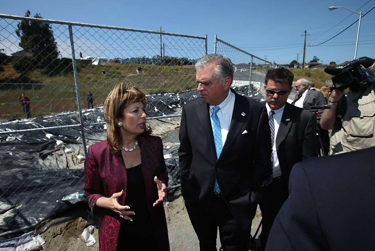 Transportation Secretary Ray LaHood and U.S. Rep. Jackie Speier talk as they tour the San Bruno rupture site at Earl Avenue and Glenview Drive in San Bruno, Calif., Thursday, May 19, 2011.