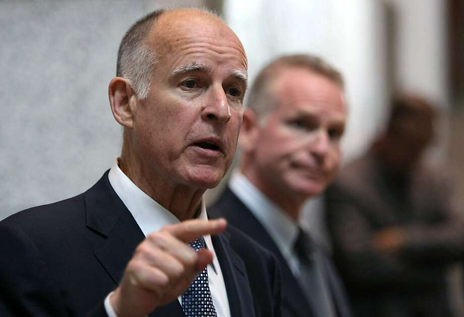 SAN FRANCISCO - APRIL 23:  California attorney general Jerry Brown speaks during a press conference where he announced a lawsuit he filed against Wells Fargo affiliates April 23, 2009 in San Francisco, California. Brown filed a $1.5 billion lawsuit against three affiliates of San Francisco based Wells Fargo Bank for defrauding California investors who purchased auction rate securities thinking the investement would be as safe and liquid as cash.  (Photo by Justin Sullivan/Getty Images) Photo: Justin Sullivan, Getty Images