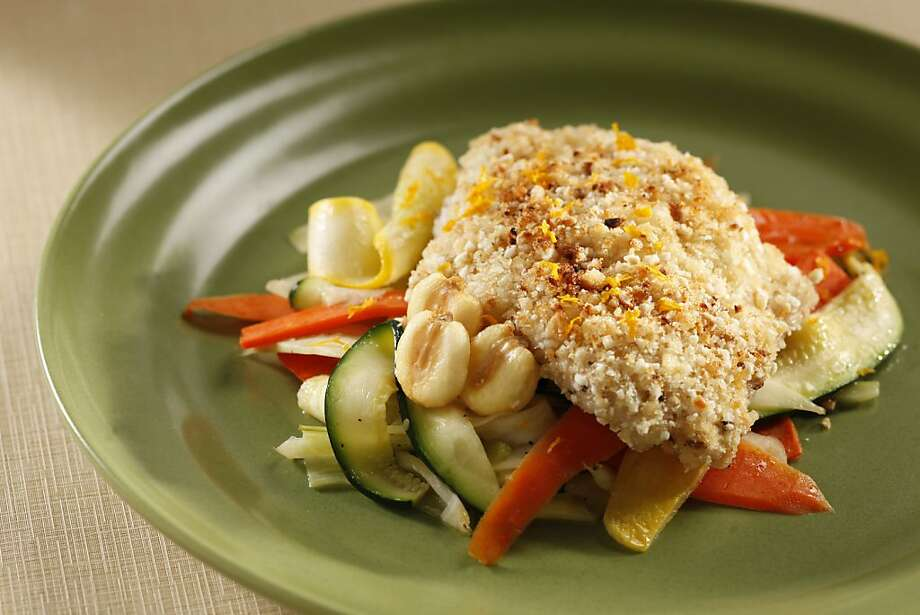 Corn nut crusted cod and vegetable ribbons. Food styled by Lynne Char Bennett. Photo: Craig Lee, Special To The Chronicle