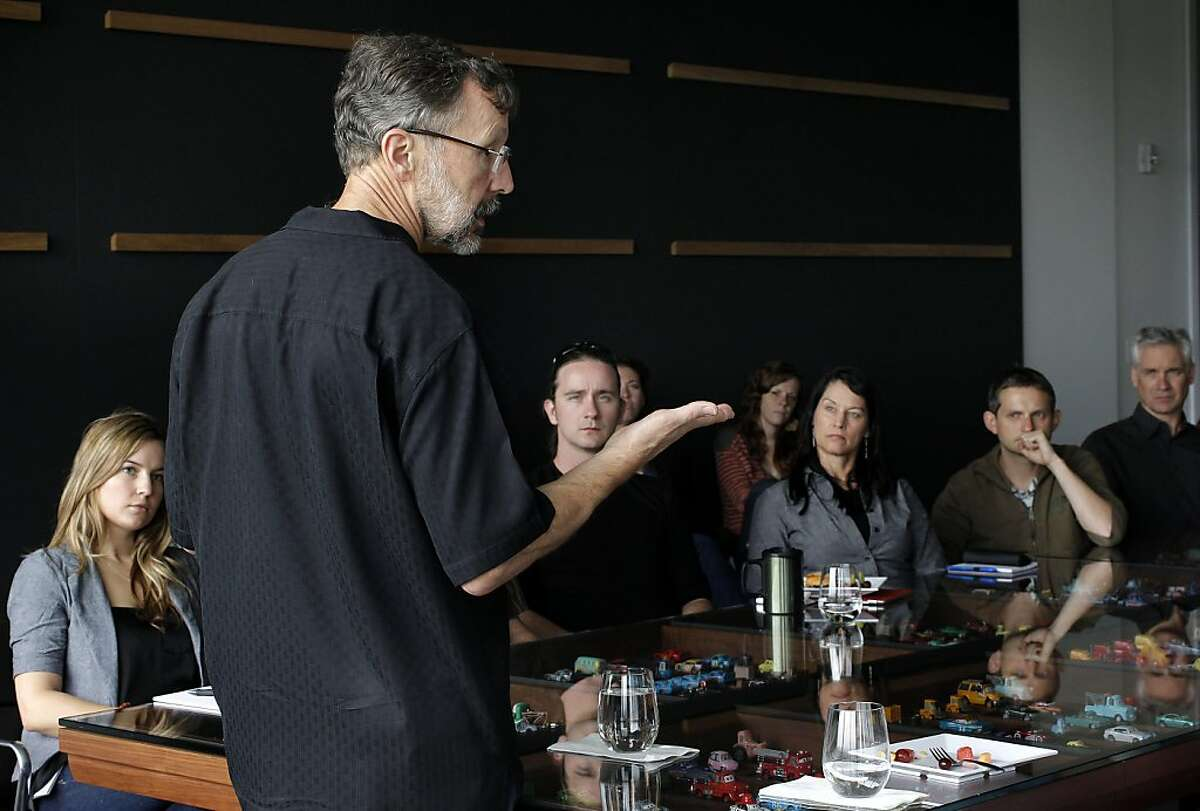 The President of Walt Disney Animation Studios and Pixar Animation Studios, Ed Catmull gives a talk to newly hired people at company headquarters, in Emeryville, Ca. on Thursday June 9, 2011.