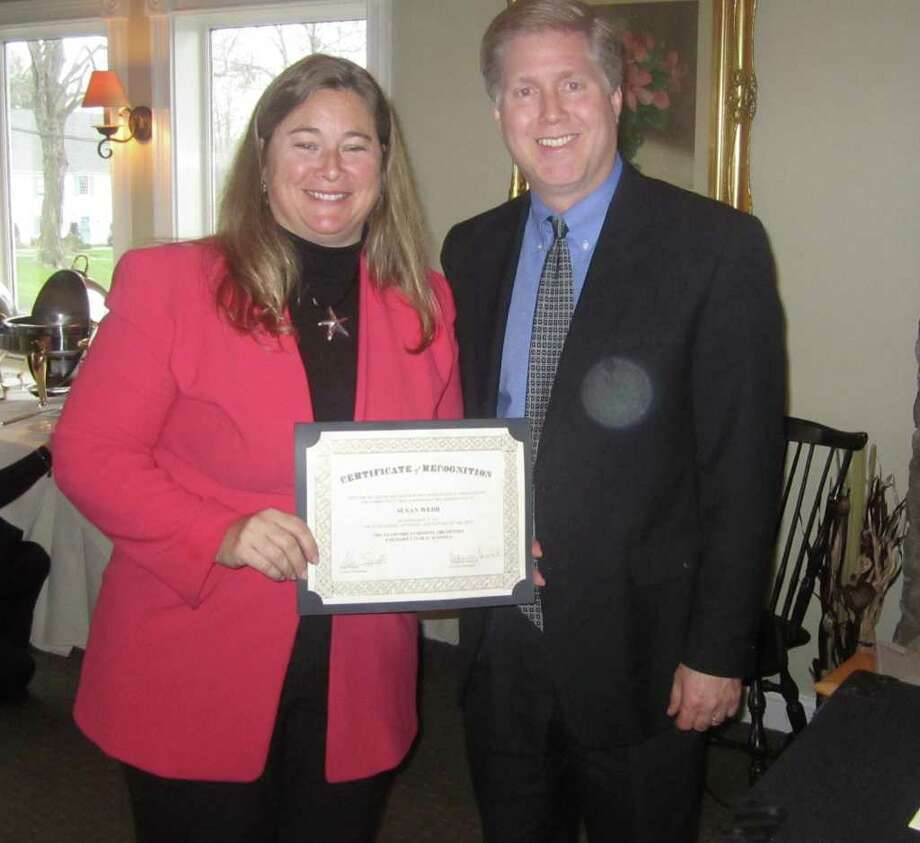 Susan Webb, Stamford Symphony education director and Richard Sadlon, past president of CAAA and Director of Music in the Darien Public Schools. Photo: Contributed Photo