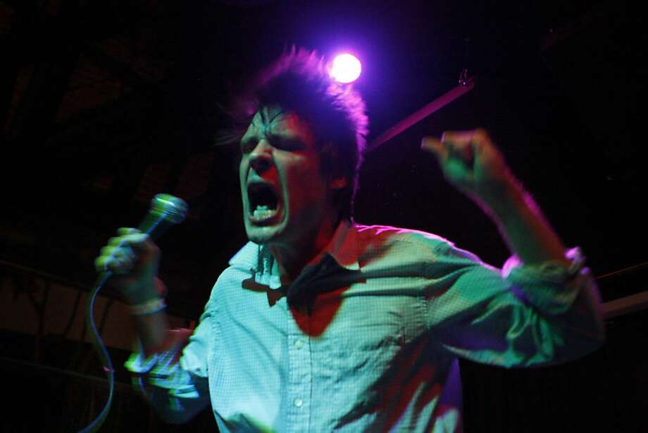 John Maus shows extreme passion while singing for a crowd at the Brick and Mortar Music Hall, in San Francisco Calif.,  on June 18, 2011. Photo: Audrey Whitmeyer-Weathers, The Chronicle