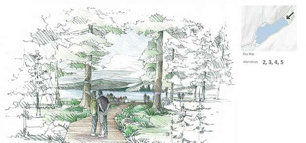 The first phase of the Tenaya Lake makeover includes a new ecologically friendlytrail that will provide easy access for all from the parking lot to the shore and minimize future impacts to wetlands.  (Rendering) Photo: Mithun