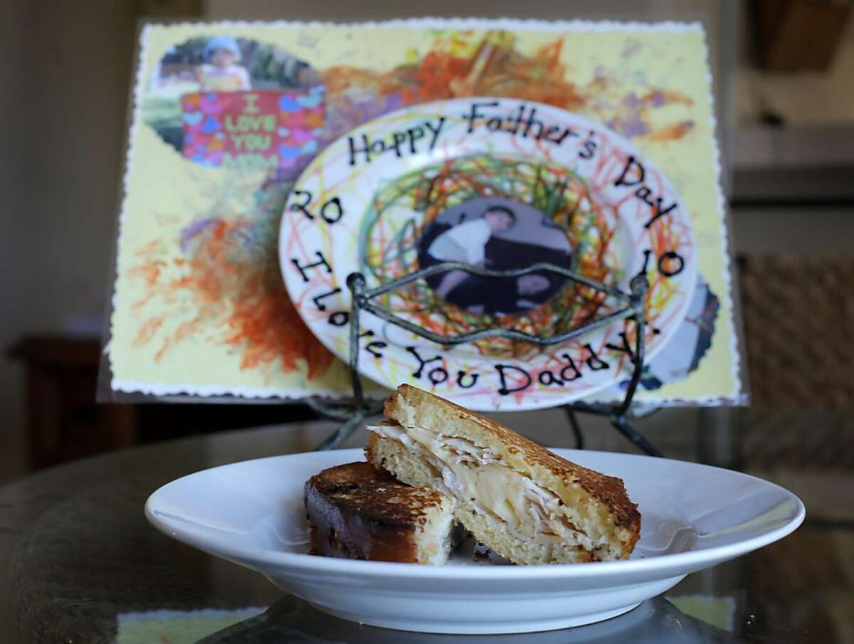 A Grilled Turkey & Fontina Sandwiches With Apple-Mustard Relish made by Jason Fox with help from his daughter Lily.