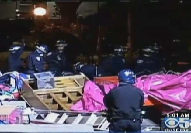 San Francisco Police dismantle the 2-month old Occupy SF encampment early this morning in Justin Herman Plaza. Photo: Cbs5