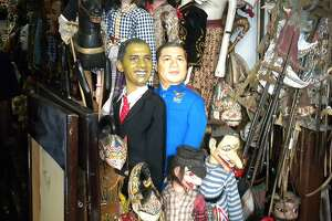 President Obama and Indonesian President Susilo Bambang Yudhoyono dolls for sale at Jakarta's Jalan Surabaya flea market. Both Obama and Yudhoyono are popular figures.