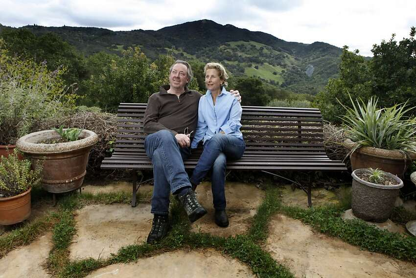 Rocker-composer Boz Scaggs and his wife Dominique relax in one of the couples favorite spots in their terraced MT Veeder garden in Napa CA Tuesday, April 19, 2011.