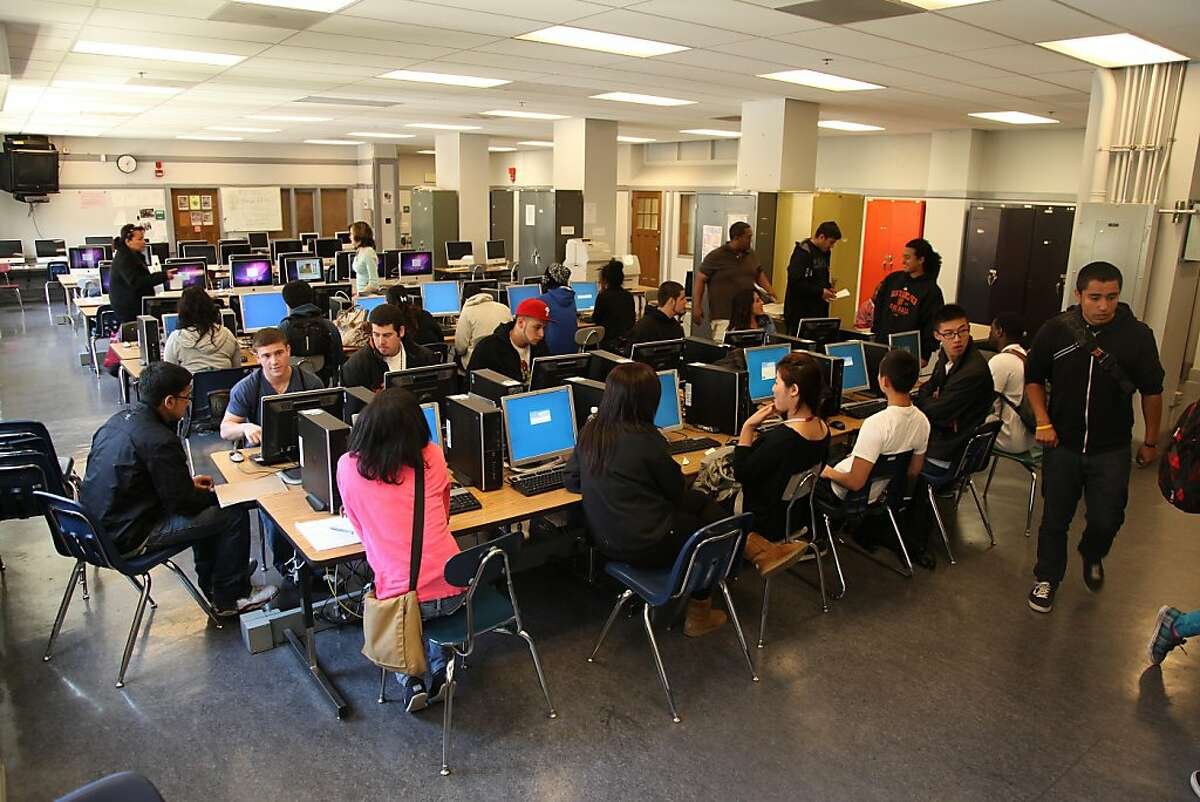 A group of students from all over the San Francisco Unified School District assembles on their first day of summer school at Galileo High School on Thursday, June 9, 2011. The students made accounts for Cyber High School which allows students to take the courses they need through a computers.