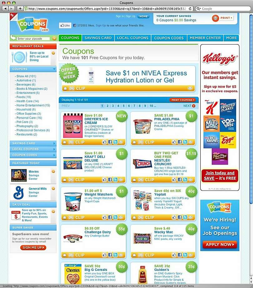 A screenshot of coupons.com Photo: Coupons.com