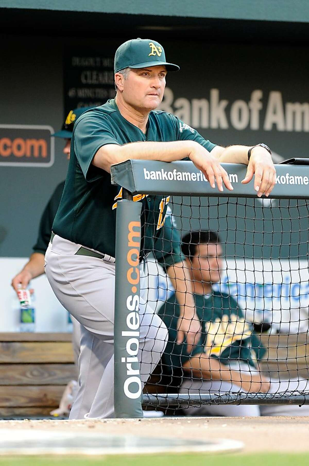BALTIMORE, MD - FILE: Manager Bob Geren #17 of the Oakland Athletics watches the game against the Baltimore Orioles at Oriole Park at Camden Yards on June 6, 2011 in Baltimore, Maryland. According to reports on June 9, 2011, Geren was fired as manager ofthe A's and will be replaced by Bob Melvin who will be the interim manager.