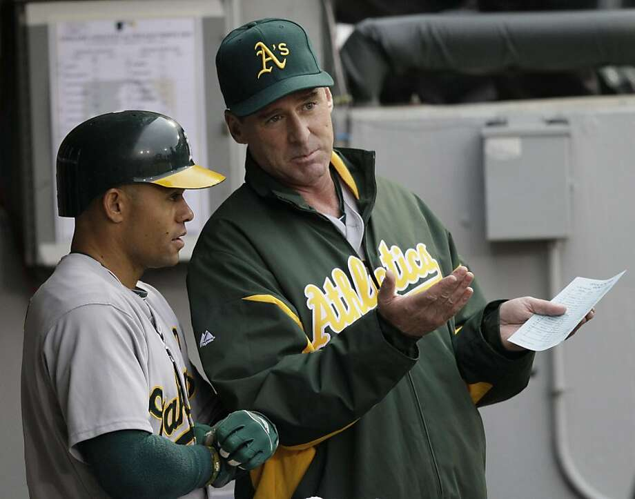 Oakland Athletics manager Bob Melvin, right, talks with Coco Crisp before a baseball game against the Chicag White Sox in Chicago, Thursday, June 9, 2011. Photo: Nam Y. Huh, AP