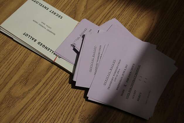 The actual ballots used in the San Francisco Municipal Transit operators vote on ratification of a new contract in San Francisco, Calif., on June 8,  2011. Photo: John Storey, Special To The Chronicle