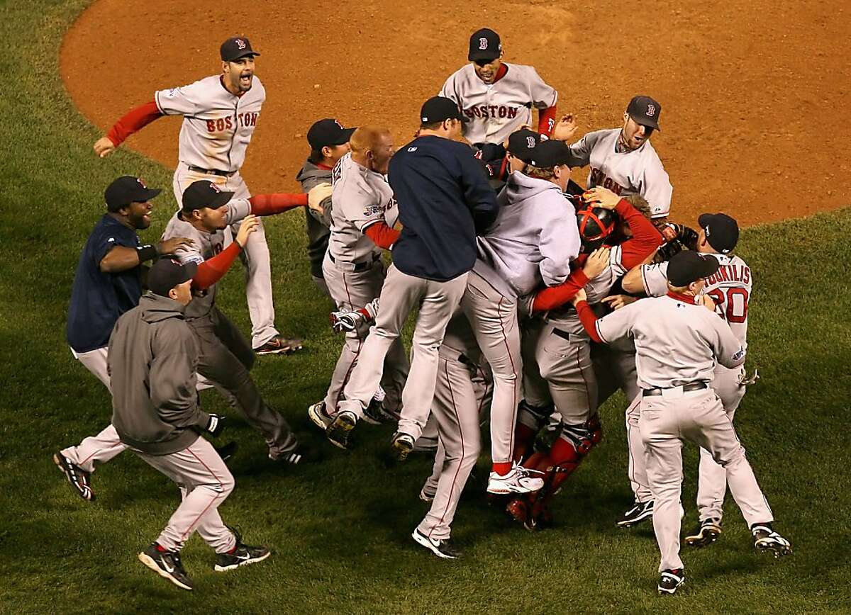 DENVER - OCTOBER 28: The Boston Red Sox celebrate after defeating the Colorado Rockies in Game Four of the 2007 World Series at Coors Field on October 28, 2007 in Denver, Colorado The Red Sox defeated the Rockies 4-3 and won the World Series 4-0.