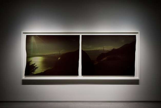 "A close up of the Golden Gate Bridge from a diptych taken by John Chiara for the show ""Here"" at Pier 24 Photo. Photo: Photo By Tom O'Connor"