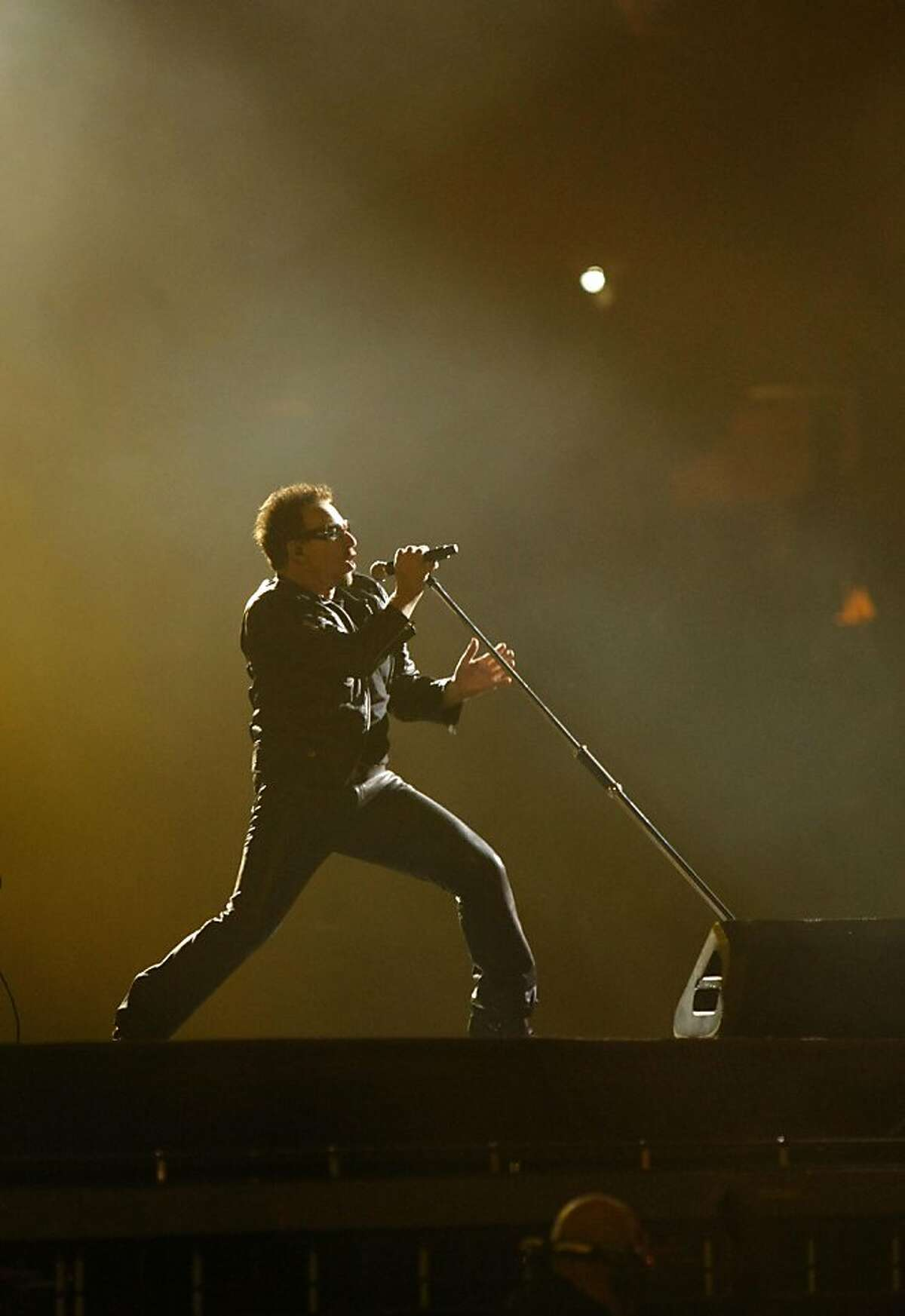 Bono of Irish rock group U2 at the Oakland-Alameda County Coliseum. U2 played its makeup date of the U2360 degrees world tour in Oakland Calif., June 7, 2011.