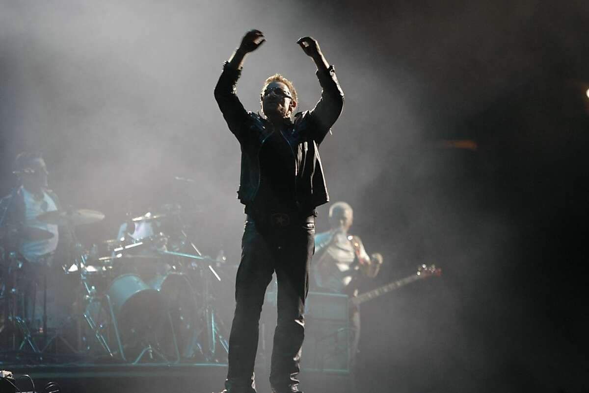 The volume in the Oakland-Alameda County Coliseum increased tremendously as the crowd cheered Bono of Irish rock group U2. The group played its makeup date of the U2360 degrees world tour in Oakland Calif., June 7, 2011.